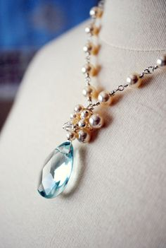aqua quartz pendant necklace with handmade bridal ivory pearl cluster crystal from Etsy