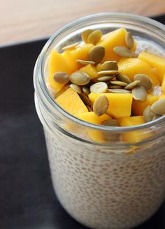 Coconut Chia : 1/4 c. chia seeds, 1 c. coconut milk, 1/2 T. honey. Mix all ingredients in bowl and cover; put in fridge overnight. In the morning add pepitas and diced mango if desired.