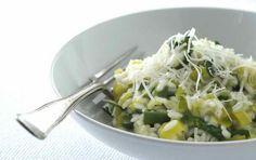 Porre-risotto med spinat og parmesanost