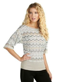 Bought this with a pair of Taupe Slacks . LOVE IT >   Cato Fashions Chevron Dolman Sweater - Plus #CatoFashions