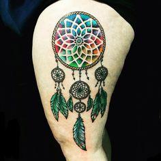colorful dream catcher tattoo-23