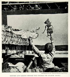 1929 Print Java Shadow Puppet Master Indonesia Wayang Show Theatre Historic NGM9