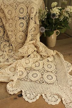 Vintage French crochet bed cover coverlet bedspread lace ~ handmade LARGE ~ ecru   eBay