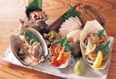 ホッキ貝、肝付きのサザエ、平貝、あわび、赤貝 Shell Fish Sashimi Plate