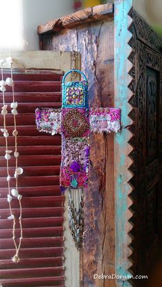 Textural Cross, Hanging, Vintage Textiles, Pompoms, Beaded, Wall Decor, Spiritual, Kitsch, Bohemian