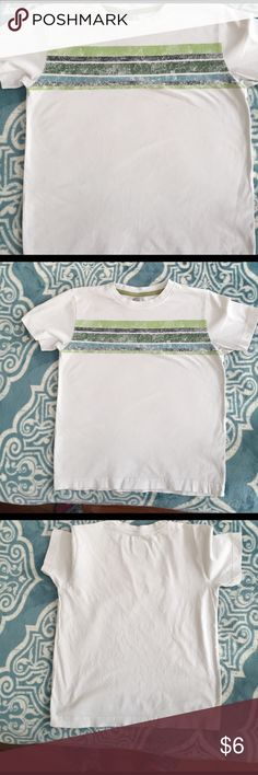 Graphic tee Gently used white tee with colored stripes on chest by Crazy8 S(5-6) No Trades! Bundles accepted crazy 8 Shirts & Tops Tees - Short Sleeve