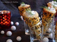 Cornets feuilletés au fromage frais et saumon fumé