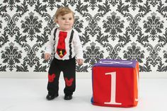 PLEASE READ SHOP ANNOUNCEMENT FOR CURRENT SHIPPING TIMES BEFORE PLACING YOUR ORDER. THANKS! http://www.etsy.com/shop/HomeArtsBoerne  THIS OUTFIT IS AVAILABLE LONG OR SHORT SLEEVES  A perfect 2 piece outfit for your little ones Mickey Mouse themed Birthday Party!  Super cute knee patches are professionally satin stitched to the high quality pants for long lasting wear wash after wash. All of my appliques are sewn, not just fused with bonding and will not lift or fall off in the wash…