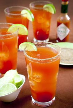 Michelada my personal favorite drink if you havent tried it you are missin out. I use bloody mary mix or clamato and chili lime salt for the rim yum! and I am not a beer lover, go figure.