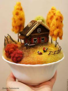 Купить Родина ОСЕНЬ - дом, домик, деревня, яблоня, родина, домик в деревне, миниатюра