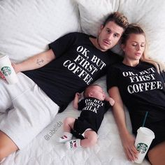 Baby Names Discover Ok but first./Ok but first Milk family matching t-shirts Ok but first Coffee/ Ok but first MILK matching family shirts funny family shirts Cute Family, Family Goals, Funny Family, Matching Family Outfits, Matching Shirts, Baby Outfits, Casual Outfits, Fashion Kids, Mommy And Son