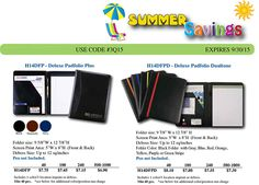 Sale On Deluxe Padfolio Plus FREE Sample w/Shipper Number