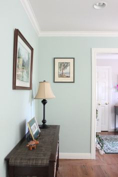 Pale Turquoise Living Room with Soft Violet Entry. Color design and photo © Kelly Berg, Story & Space