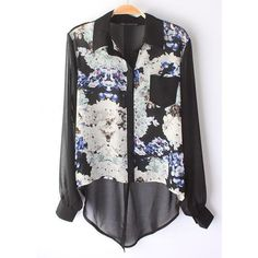 Black Long Sleeve Floral Asymmetrical Chiffon Blouse ($30) ❤ liked on Polyvore