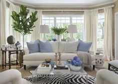 Living room Kate Jackson Design (everything but the zebra rug-yuck) Coastal Living Rooms, Formal Living Rooms, Home Living Room, Living Room Designs, Living Spaces, Small Living, Cream Living Room Furniture, Modern Living, Living Area
