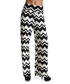 Another great find on #zulily! Black & White Chevron Stripe Palazzo Pants by Elegant Apparel #zulilyfinds