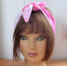 Hair Bandana, Pink and White Tie Dye, PinUp Hair, Dread Wrap, Boho Hair, Hippie…