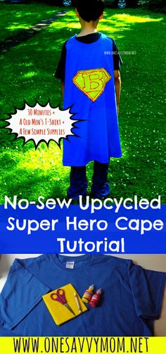 No-Sew Upcycled Super Hero Cape Kids Craft Tutorial - Perfect craft project for summer! All you need Is an old t-shirt + a few simple supplies!