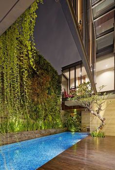 Completed in 2014 in South Jakarta, Indonesia. Images by Fernando Gomulya. Situated in an intense residential area of South Jakarta, Ben House is a three-story 800 house built on site where every story represents. Architecture Magazines, Architecture Details, Modern Architecture, Architecture Interiors, Building Skin, Building A House, Sustainable Architecture, Residential Architecture, Vertical Garden Plants