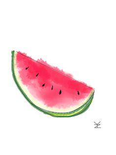 Watermelon Drawing Illustration