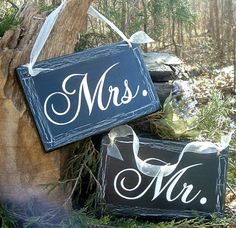 Mr Mrs Chair Signs Wedding Signs Rustic Wedding Signs with crackling