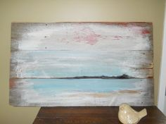 """Beach side painting on barn boards.  28""""x48"""" 