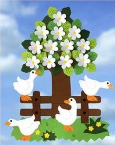 Paper decorations for Easter - - School Board Decoration, Class Decoration, School Decorations, Paper Decorations, Craft Activities, Preschool Crafts, Easter Crafts, Diy And Crafts, Crafts For Kids