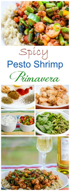 Spicy Pesto Shrimp Primavera #SundaySupper ~ http://FlavorMosaic.com - Spicy Pesto Shrimp Primavera is a restaurant-inspired, mildly spicy, hugely flavorful Shrimp dish with red bell peppers, asparagus, and spinach with a Sun-Dried Tomato Pesto with Parmesan cheese. #GalloFamily
