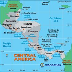map of Central America. Central America, a part of North America, is a tropical isthmus that connects North America to South America. It includes 7 countries and many small offshore islands.  Overall, the land is fertile and rugged, and dominated through its heart by a string of volcanic mountain ranges.