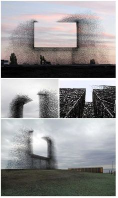 """Non-sign II is an installation by seattle based art collective Lead Pencil Studio located at the Canada-US border near Vancouver. The sculpture is made from small stainless steel rods that are assembled together to create the negative space of a billboard. While most billboards draw attention away from the landscape, Non-sign II frames the landscape, focusing attention back on it."""