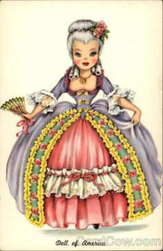 This is from the Dolls Around The World Series, a vintage grouping of adorable doll type images from around the world. I touched it up for you to use! This one is my fave: Marie Antoinette! New addition to the Doll and Marie CDS! Marie Antoinette, Vintage Pictures, Vintage Images, Vintage Dolls, Vintage Paper, Old Cards, Hallmark Cards, Thinking Day, Partys