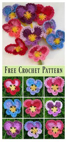 Granny's Pansy Free Crochet Pattern #freecrochetpatterns #flowers