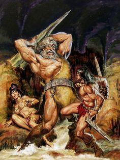 Original cover painting by Earl Norem from The Savage Sword. Original cover painting by Earl Norem from The Savage Sword of Conan published by Marvel Comics April Marvel Comics, Heros Comics, Conan Comics, Comic Book Artists, Comic Books Art, Comic Art, Boris Vallejo, Bristol Board, Conan The Barbarian