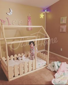 Cute girl room idea, wood house bed frame with fence, children bed, toddler bed, house bed, tent bed, wooden house, wood house, wood nursery, teepee bed wood house bed wood bed frame kids teepee