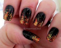 Fall Nail Art - Glitter #fall #nails #nailart/ love weird but beautiful designs .........just like I am