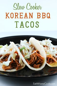 Slow Cooker Korean BBQ Tacos - Tacos come in all kinds of  flavors and fusions–and that just makes them all the more delicious! #SlowCookerSummerDinners