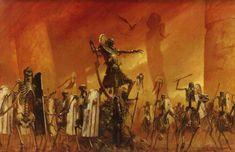 Tomb King leading his warriors Warhammer Tomb Kings, Warhammer 40k Art, Warhammer Fantasy, Fantasy World, Dark Fantasy, Fantasy Art, Tolkien, Battle Brothers, Age Of Sigmar