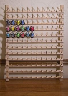 Thread Rack-larger spools, thread storage, thread organization, 2 inch spools-Discounted shipping with multiple rack orders Bobbin Storage, Thread Storage, Sewing Room Storage, Sewing Room Organization, Craft Room Storage, Sewing Rooms, Sewing Room Design, Sewing Studio, Thread Holder