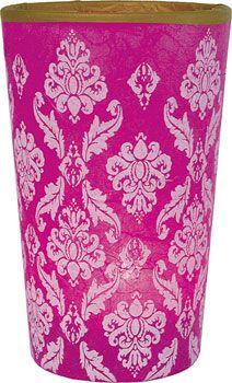 Fuchsia Pink Damask Print Rice Paper Votive