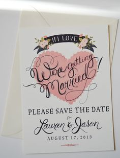 Save the Date Card with matching envelopes set of 25/ Blush. $95.00, via Etsy.