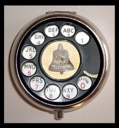 Rotary Phone Dial Design Pop Art Pill Case by Sweetheartsinner NEW Pill Box Retro