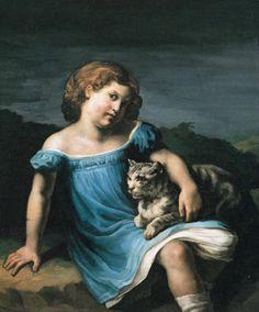 Théodore Géricault, Louise Vernet de niña (1818-1819), Museo del Louvre, París http://www.harteconhache.com/2012/06/louise-vernet-y-su-gato-en-su-lecho-de.html