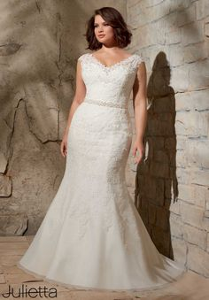 3172 Wedding Gowns / Dresses Alencon Lace Appliques on Net with Crystal Beading- Removable Beaded Satin Belt #11078W (included, but also sold separately as style #11078)