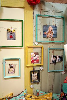 spray paint old frames, attach a string or thin craft wire, decorate a clothes pin