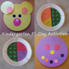 Kindergarten Pi-Day Activities Circle fractions and pattern worksheet