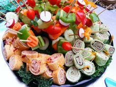 Party Wrap and Veggie Skewer Tray