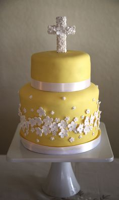 "Yellow Baptism Cake - My first tiered cake! 8""x 8""& 6""x 4"" Rum cake, MFF, fondant flowers on a 3D gumpaste cross."