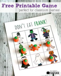"Looks like a cute kid's game for Halloween! My Sister's Suitcase: Printable Halloween Game ""Don't Eat Frank! Halloween Tags, Halloween Class Party, Halloween Activities, Easy Halloween, Holidays Halloween, Halloween Crafts, Holiday Crafts, Holiday Fun, Halloween Decorations"