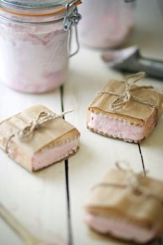 Black plum ice cream sandwiches on home made oat graham crackers. What a pretty way to wrap them.