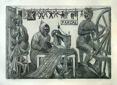 """""""The Three Fates"""", etching, Steven Hazard"""